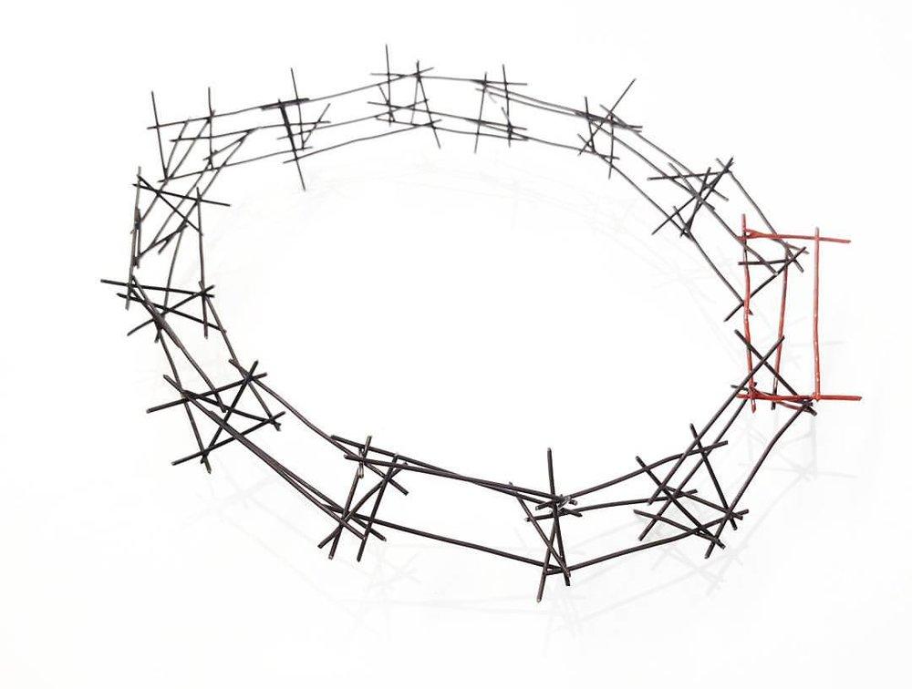 """ Crown for Matthew Shepard ""  crown | steel, nail polish"