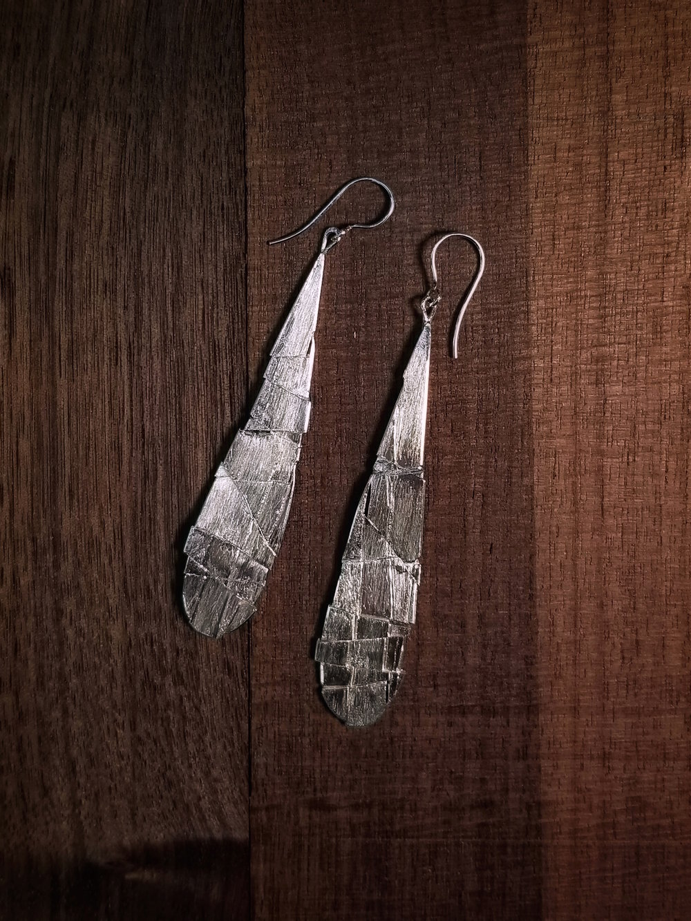 """ Fractured Droplet Earrings ""  Sterling Silver     FRACTURINGS"