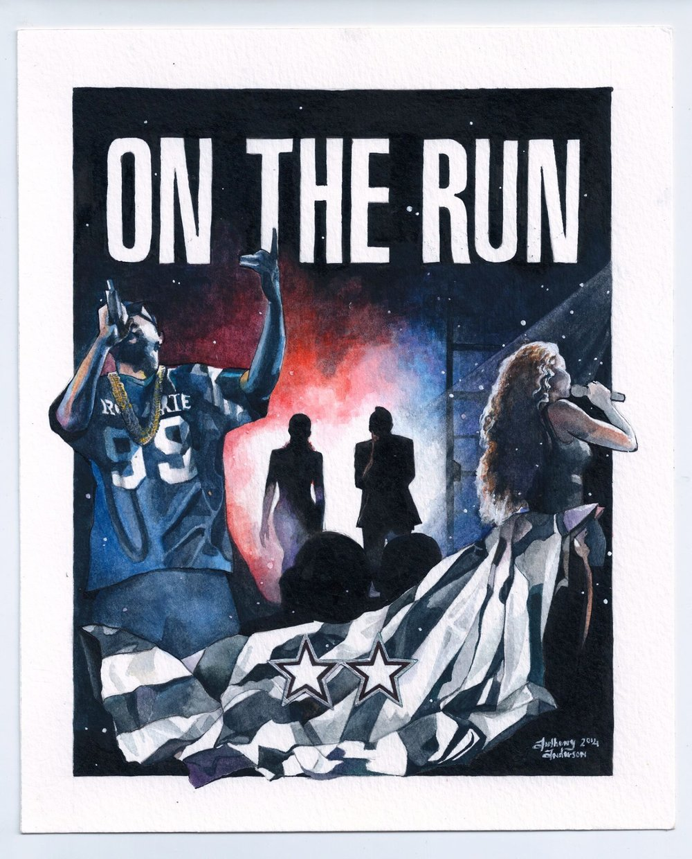 """On The Run"" tour poster  watercolor, gouache, India ink"