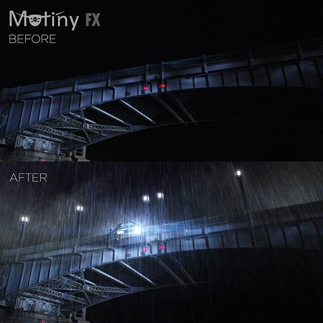 Before and after shot of a car crash scene on a bridge. All the modeling was done in #lightwave and the digital rain was added in #aftereffects.  #vfxsupervising #vfx #visualeffects #3d #3dmodeling #postproduction #featurefilm #adobe #adobeaftereffects #mutinyfx #mutiny #themutinyisreal #tellallthestories