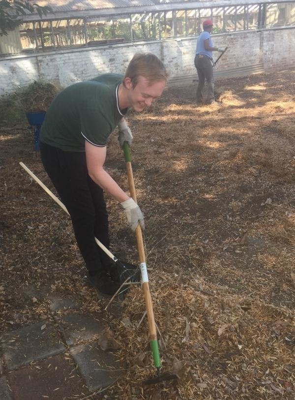 UCLA-INFEWS trainee Benjamin Hoar works hard to collect debris in the garden.