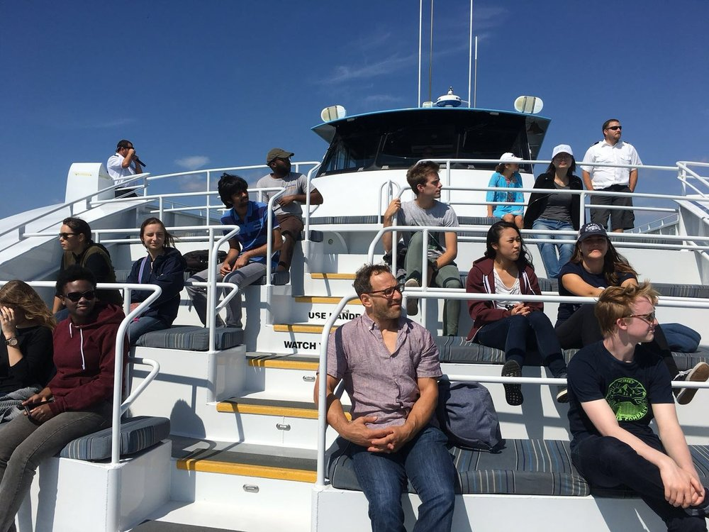 UCLA-INFEWS (on much too big of a boat for only 18 of us!) trainees and professors learn about the Port's sustainability initiatives.