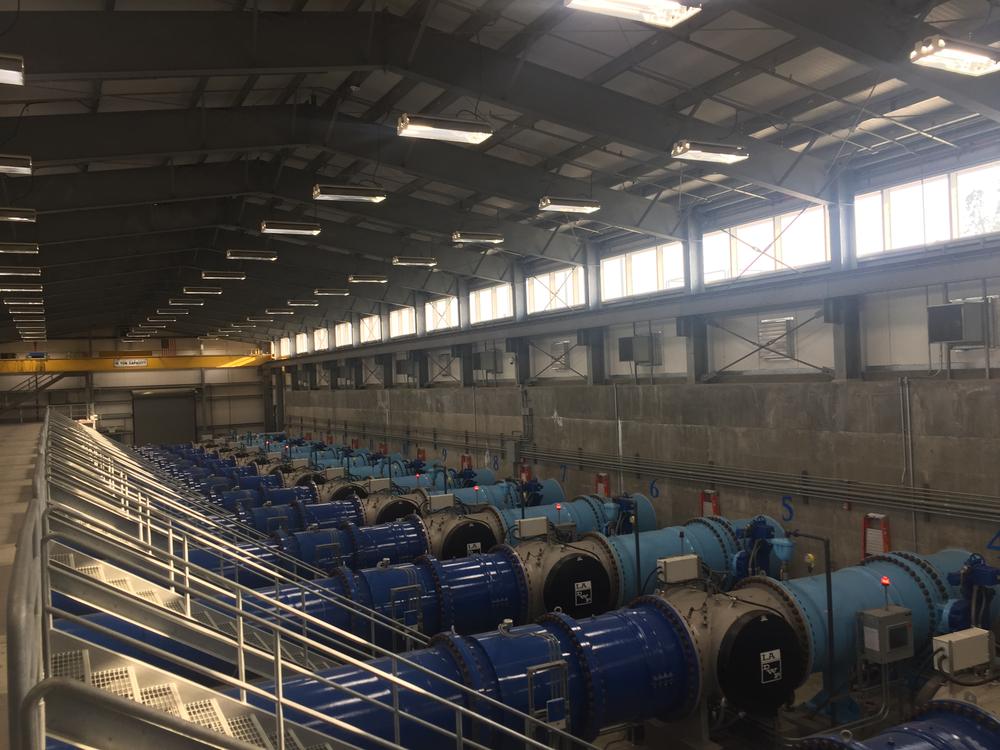 Inside the Dr. Pankaj Parekh UV Disinfection Facility where UV disinfection of water removes pathogens like giardia and cryptosporidium.