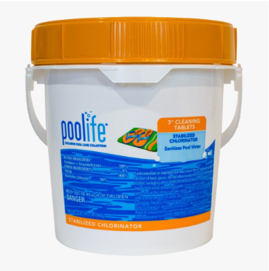 Poolife 3 In Cleaning TabS  Poolife 3 Inch Cleaning Tablets are a slow dissolving chlorine tablet designed to keep your pool free of bacteria, and algae. The tablets contain cyanuric acid to protect the chlorine from sunlight degradation. Works in skimmers, feeders or floaters.  7 ounce tablet per 10,000 gallons of water per week or as need to maintain chlorine level of 1-4 ppm