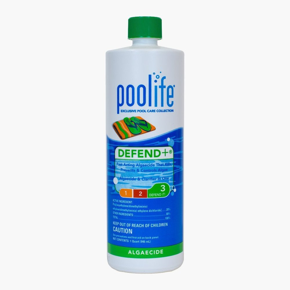 Pool Defend +  Poolife Defend+ not only treats and helps prevent green, black and yellow algae but it also clarifies your water. This algaecide is non foaming so it can be used in pools with attached water features and hot tubs.  Initial Treatment for clean pool: 8-12 fl Oz per 10,000 gallons of water.