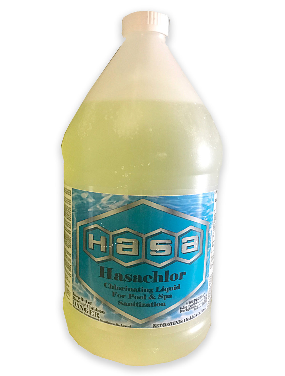 HASA SANI-CLOR / HASA CHLOR  A sodium hypochlorite solution, marketed for use in the treatment of water in swimming pools, spas, and hot tubs. It is the least expensive form of disinfecting swimming pool upon application destroying algae, bacteria, viruses, and other microorganisms.