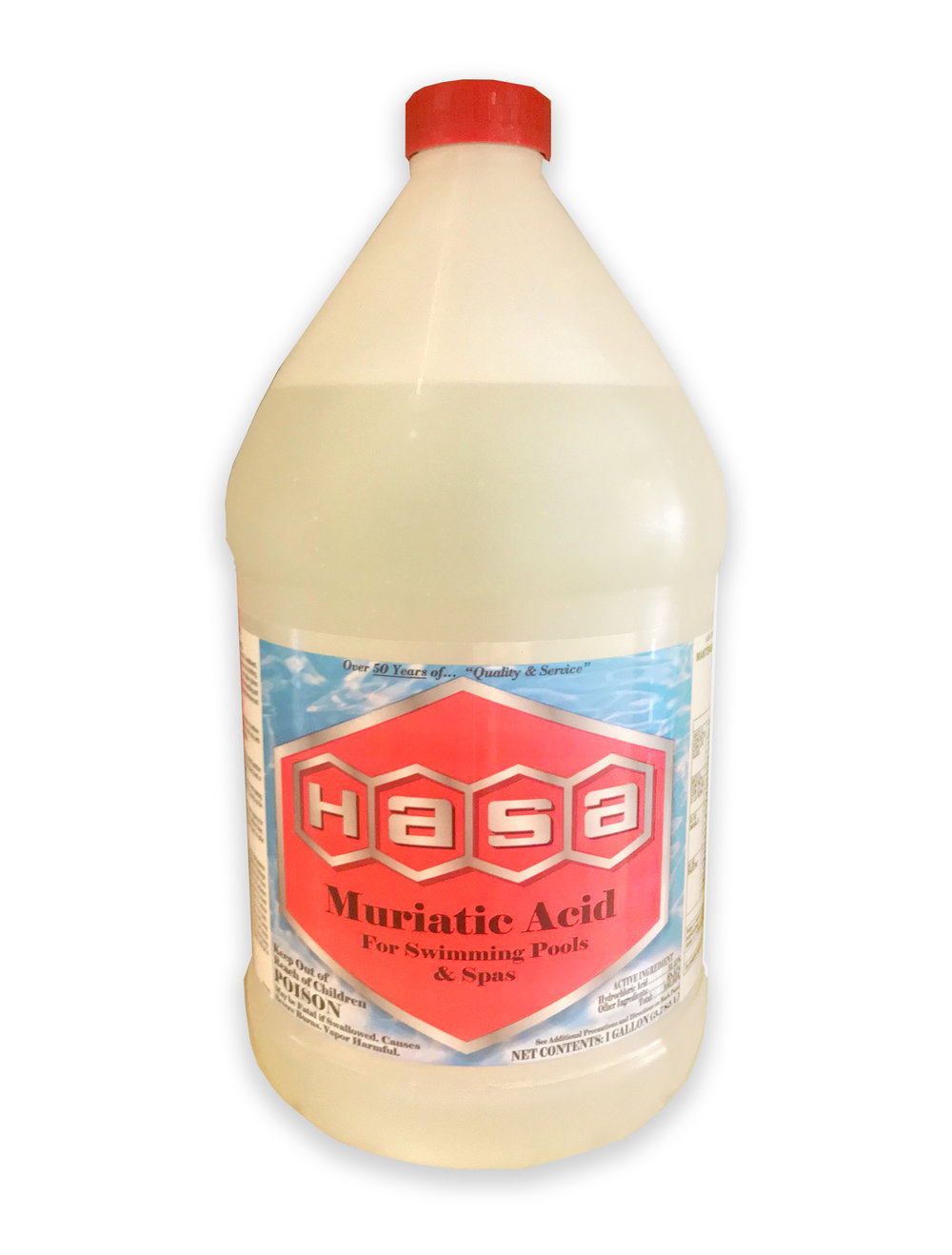 HASA MURIATIC ACID  Hydrochloric Acid Lowers Swimming Pool Water's pH. Used to lower Alkalinity. Scale Removal.
