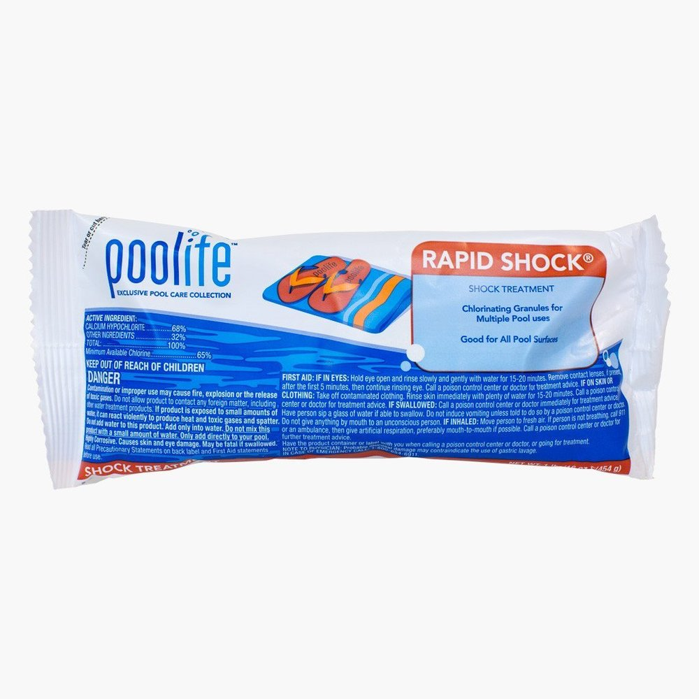 Poolife Rapid Shock  Poolife Rapid Shock dissolves fast to bring your chlorine levels back into balance. Rid your pool of contaminants from heavy pool usage, rain or windstorms with this weekly shock.  10-20 ounces per 10,000 gallons of water to provide 5 to 10 ppm available chlorine every week.