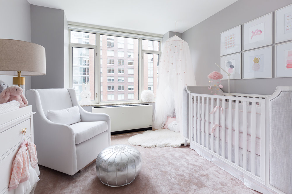We laid out all of the essentials with maximum function. Once we had a the layout finalized, we started looking for specifics. The color palette we came up with is grounded in neutrals with blush accents to add a touch of baby girl. We always want to maximise function in our design, so all our bigger purchases are gender neutral and convertible so they can be used when our clients have their second baby.  We left plenty of empty space in the middle of the room for the essential tummy time and block building.