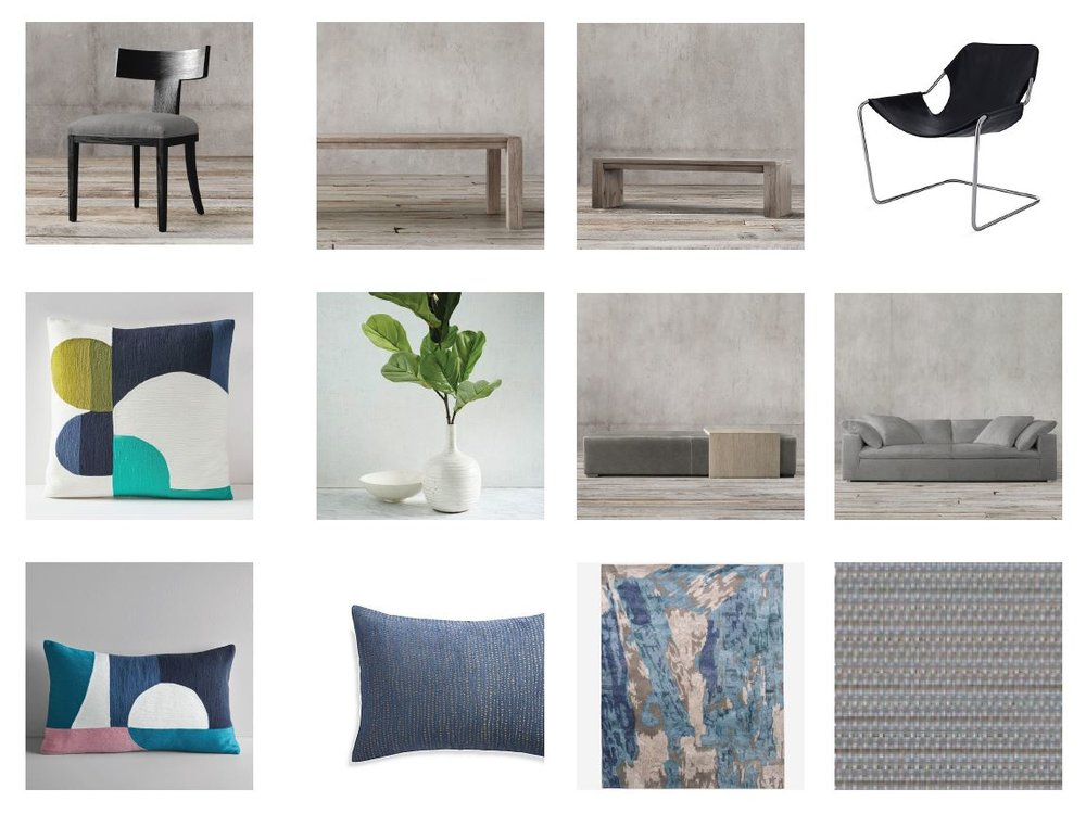 Mood Board for our Old Greenwich Residence Family room and Dining Room  Greys with natural oak in the family room give a comfortable relaxed feel. Linen, Leather and Wood are the main textures supported with some chrome and porcelain surround for our fireplace. Blue and green accessories accent the room and are easy to swap for holidays.  The dining room with the reclaimed dining table and bench create a comfortable farmhouse vibe for this young family. We brought in the contemporary dining chairs with linen upholstery to create a bit of a transition from the wallpapered living room and the relaxed family room. The black leather chairs with chrome legs are the perfect spot for morning coffee. We are excited for it to all come together!!