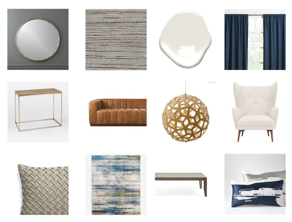 Mood Board for our Old Greenwich Residence Living Room  The beautiful wallpaper defines the room as it is the first thing we see. The beautiful leather couch and the wooden chandelier add warmth to the space. The ivory wingback chairs with navy drapes behind them and the beautiful cushions make the room sculptural and curvy, fit for a suburban home.