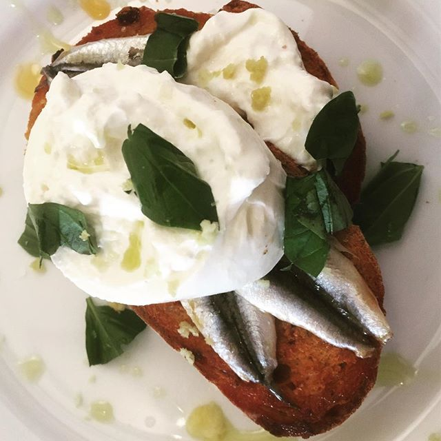 Anchovy, burrata, basil and red pepper oil bruschetta.  #food #foodie #anchovy #burrata #bruschetta #italianfood #homecooking #scotland #seafood
