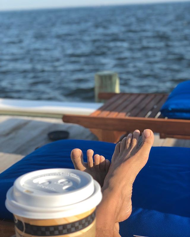 Morning coffee. . . . #instagay #feet #cherrygrove #vacation #pride🌈 #peaceful #relaxed