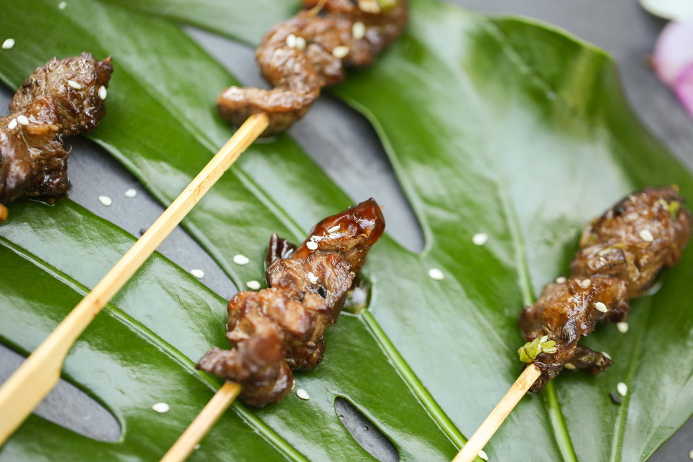 Skewered Beef Rolls with Spring Onion Soy & Roasted Sesame