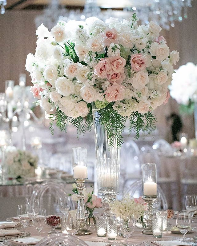 Taupe linens and tall floral arrangements with just a hint of pink roses and greenery added warmth and romance (Venue: @fairmontgranddelmar | Planning/Design: @internationaleventco @margot_iec | Florals: @marksgarden @michael_MarksGarden | Lighting: @thelightersidela | DJ Band: @liventgroup | Photographer: @jessicaclaire | Videographer: @davidmedillproductions | Rentals: @palacepartyrental | Cake: @jandlcakes)