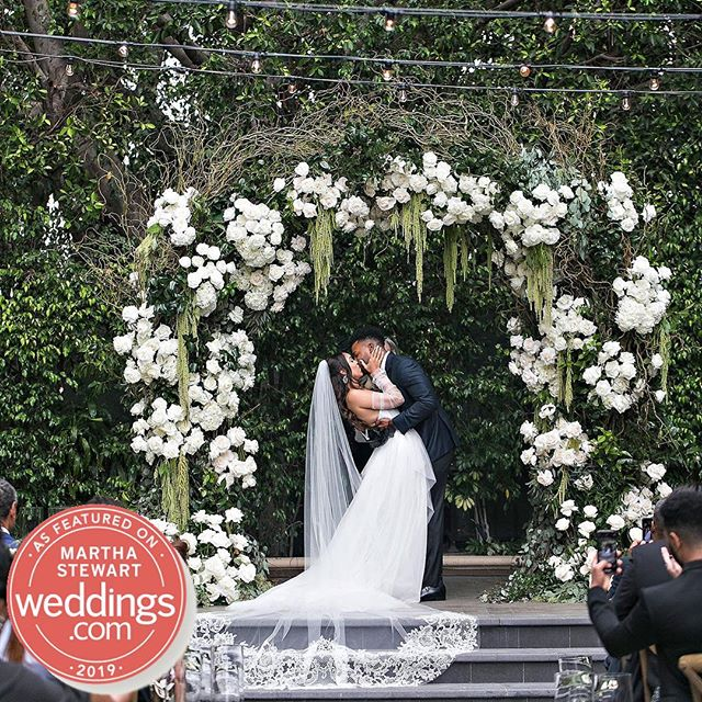 Excited to see @danifooface and @kevlank 's wedding featured in @martha_weddings! Click the link in our bio for all the pretty details 💚🖤(Venue: @fslosangeles @fslosangelesevents |Design/Planning: @internationaleventco @margot_iec | Floral Design: @nancy_kaye for @marksgarden | Photographer: @jessicaclaire | Videographer: @elysiumweddings | DJ Band: @liventgroup | Lighting: @mjlightingdecor | Décor: @edgedesigndecor @devynnbydesign | Chairs: @palacepartyrental | Linens: @latavolalinen | Photo Booth: @mirmirphoto | Hair&Makeup: @makeuptherapy | Wedding Dresser: @asitbridal | Printed Material: @letspartyinvitations)