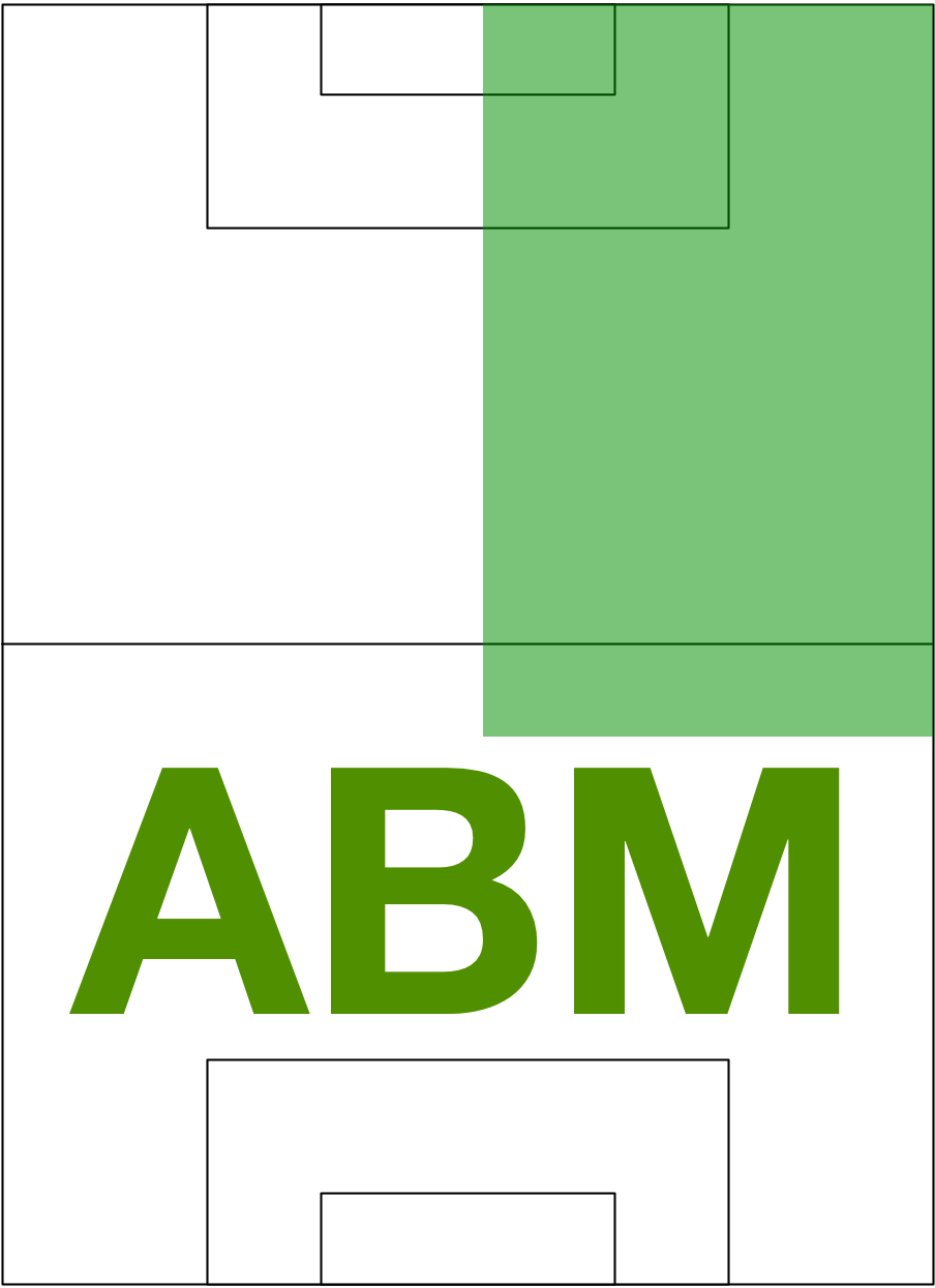 Always Be Moving - Players are assigned a position; each position has a coverage area* (Right Wing shown in green); players are coached to always be moving (ABM) within their coverage area.We measure motivation by observing what happens before and after touching the ball.We tell players to NEVER touch and stop; when the ball is in your coverage area, repeatedly go after it; or rapidly go to the best place in your coverage area to receive or to intercept a pass. *Depending on skill, speed, and stamina, we let players 'lengthen' their coverage areas.