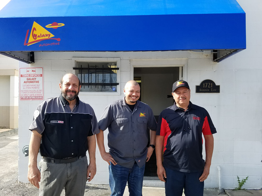 Rick, Danny and Danny Sr. (a.k.a. Ricky Repair, Danny Diagnostic and Danny Diagnostic, Sr.) at our Anderson Lane Location.