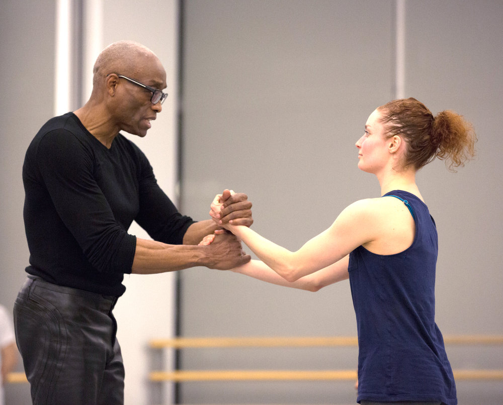 Bill T. Jones and Ailey dancer Megan Jakel in rehearsal for D-Man in the Waters (Part 1).  Photo by Rosalie O'Connor.jpg