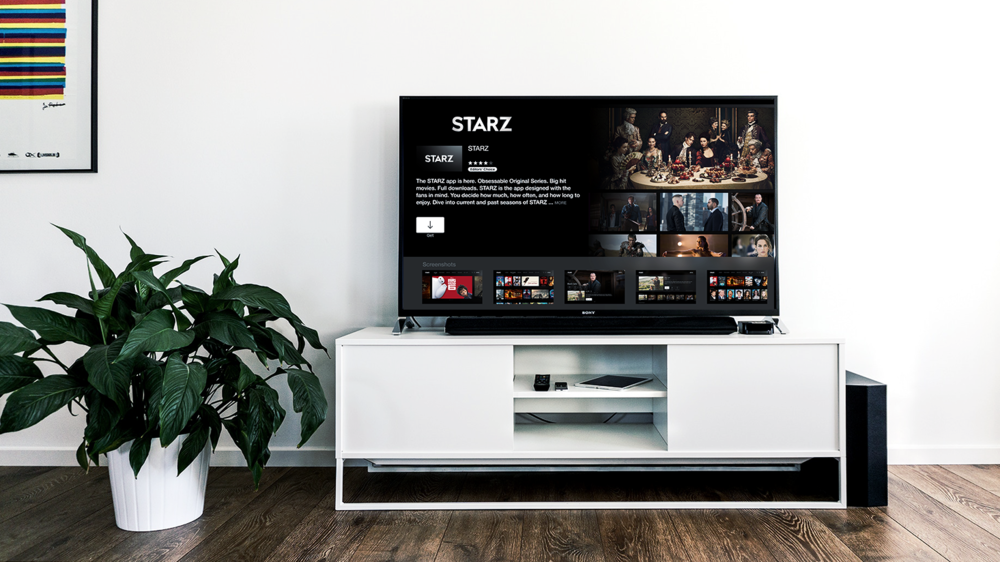 Starz on TV. - Design for large screens.