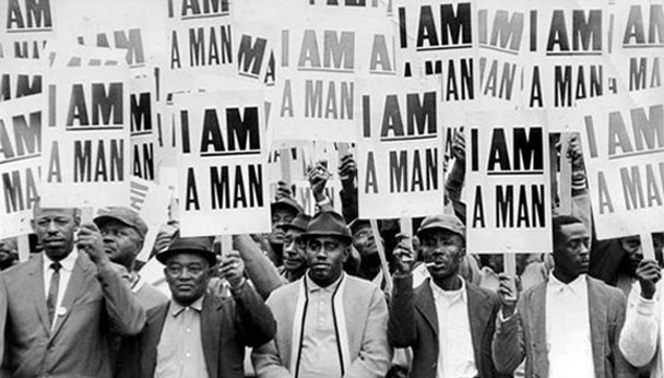 1968 | March 28th - Dr. King leads six thousand striking protesters on a march in downtown Memphis in support of the striking sanitation workers. Fifty people are injured and one, sixteen year old is killed.