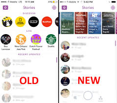 """Photo of the """"old"""" Snapchat vs. the """"new"""" Snapchat, from Google Images."""