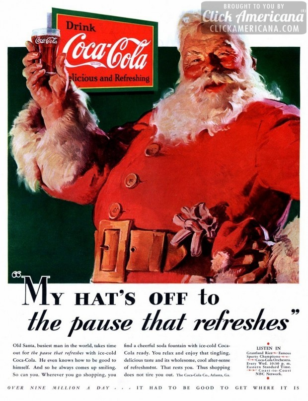 Coke Vintage Santa Ad - 1931