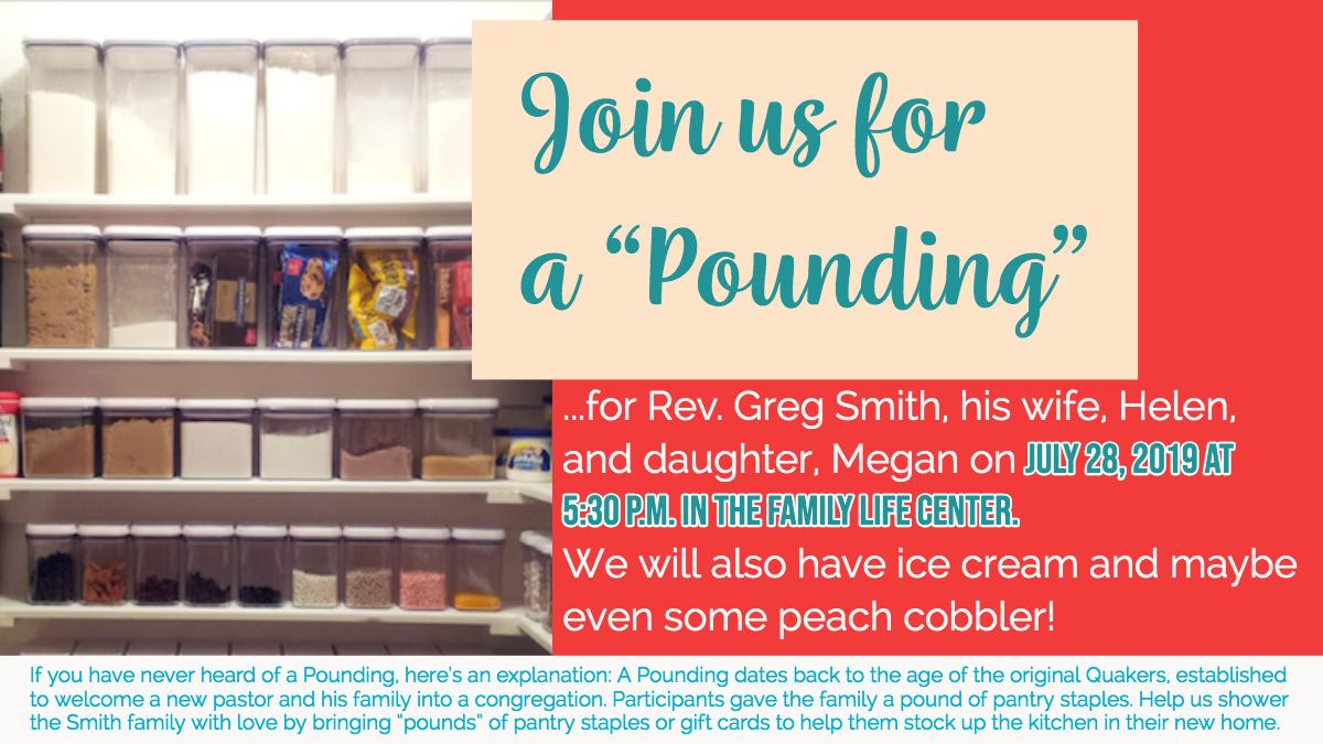 Pounding for Pastor Greg Smith and Family — Saint Mark