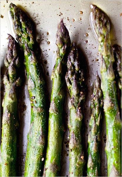 RoastedPurple & Green Asparagus - Spring Produce: Asparagus