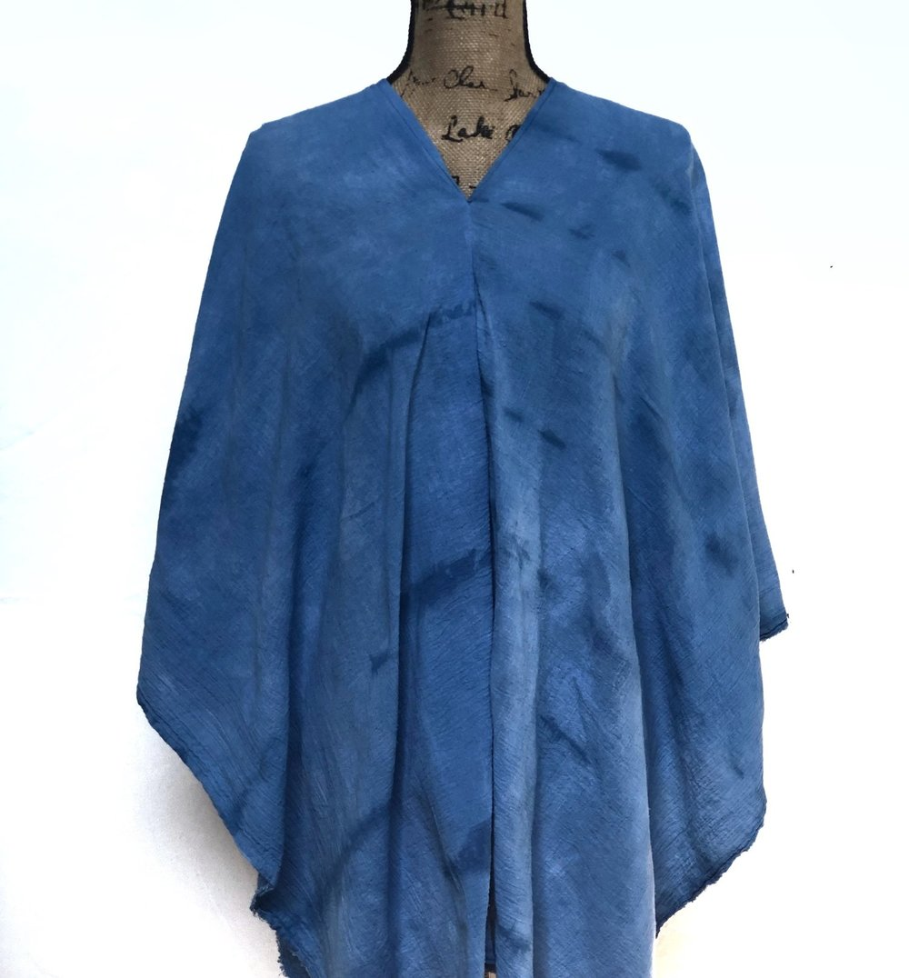 Ponchos   Elara Blue ponchos are hand dyed in all natural indigo and sewn together by me, just for you!