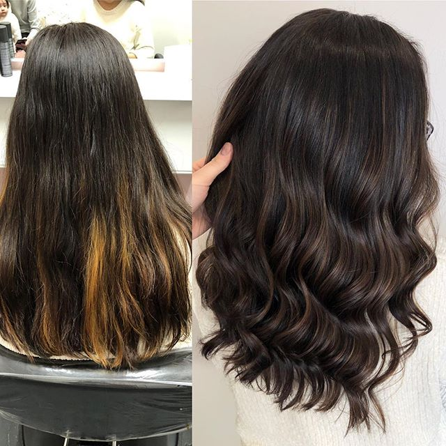 One of my favorite transformations to date! I love these rich chocolate tones🍪 . Balayaged some highs and lows to blend out those streaks. Finished with a rich brown semi permanent color to feel more natural and subtle on those balayaged pieces! Still have some work to do, but we're definitely in a better place!