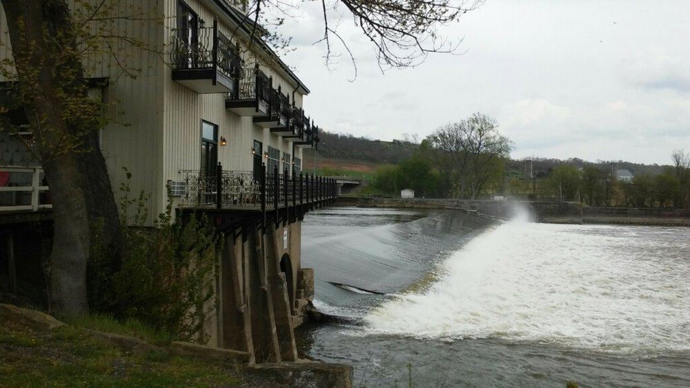 The Muskingum River flowing next to the Stockport Mill Inn.