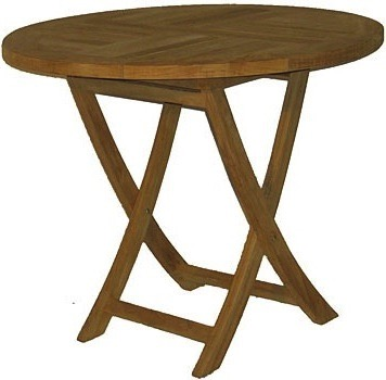 "36"" Round Folding Table - $350  Dimensions: 36"" x 36"" x 31""  Plantation Teak - Indonesia"