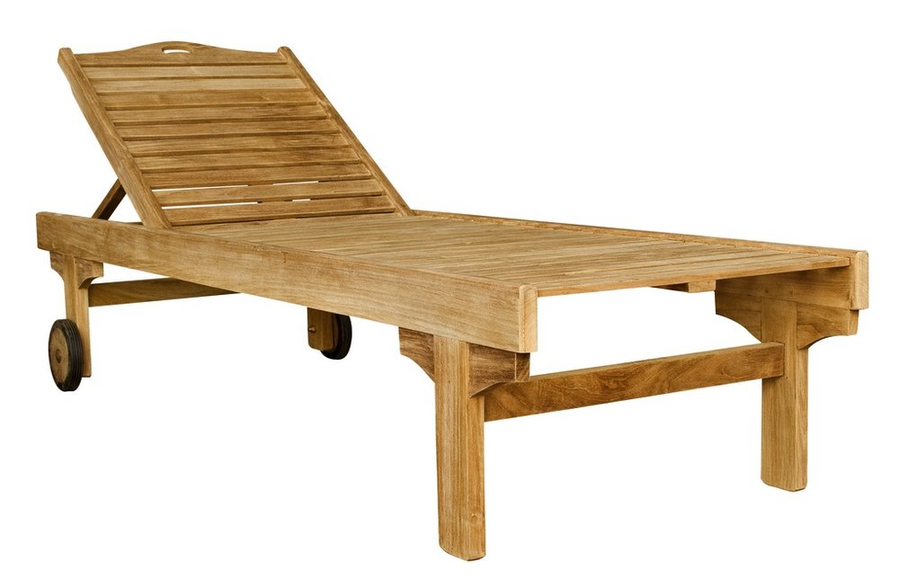 "Classic Chaise - $508  Dimensions: 25"" x 79"" x 16""  Plantation Teak - Indonesia"