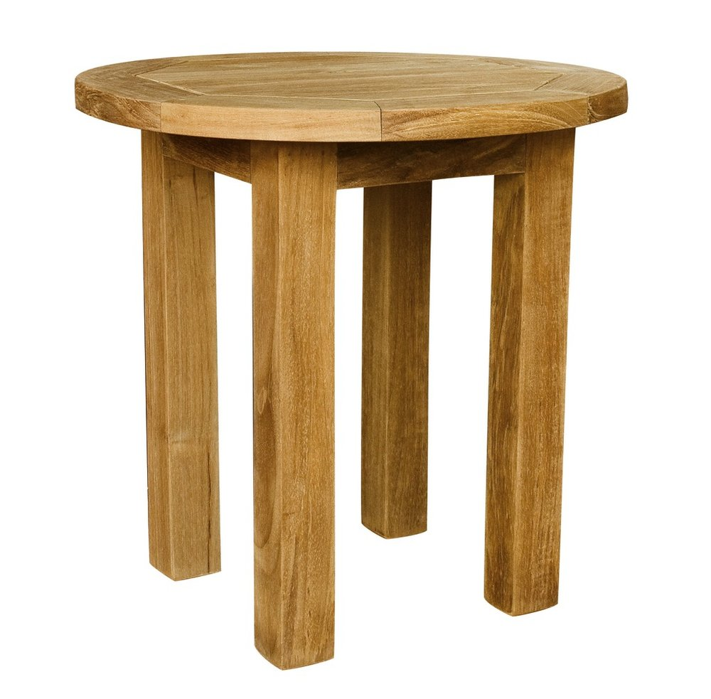 "Round Side Table - $130  Dimensions: 17"" x 17"" x 18""  Plantation Teak - Indonesia"