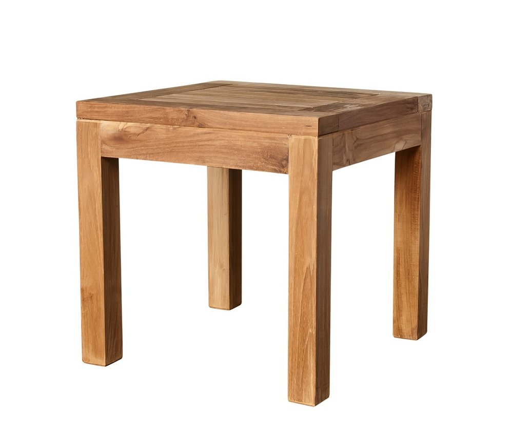 "Square Side Table - $130  Dimensions: 17"" x 17"" x 18""  Plantation Teak - Indonesia"