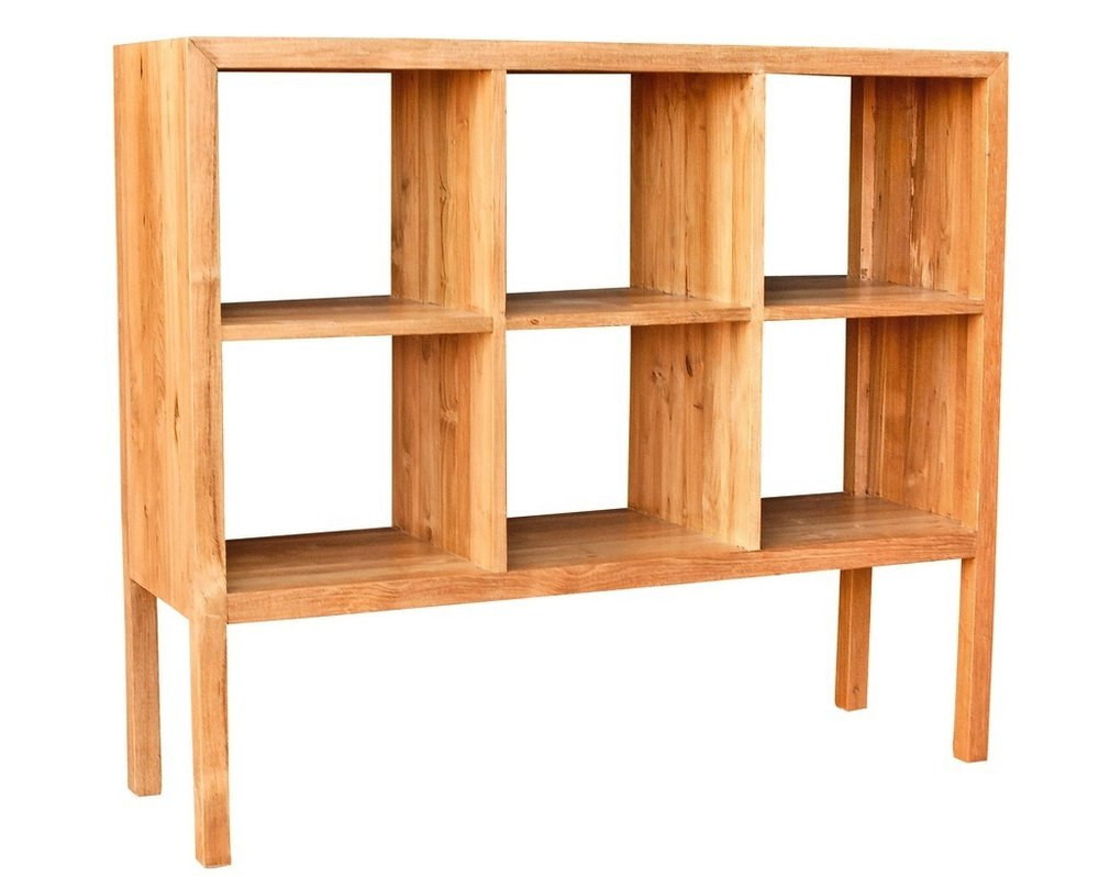 """Low Cubby Bookcase - $1,045.00  Dimensions: 49.5"""" x 15"""" x 43.5""""  Reclaimed Teak - Indonesia"""