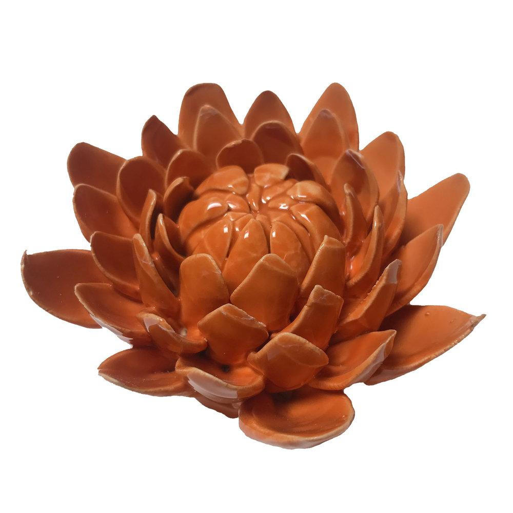 """Orange Ceramic Dhalia - $31  4.25"""" Diameter, 2.5 Tall"""""""