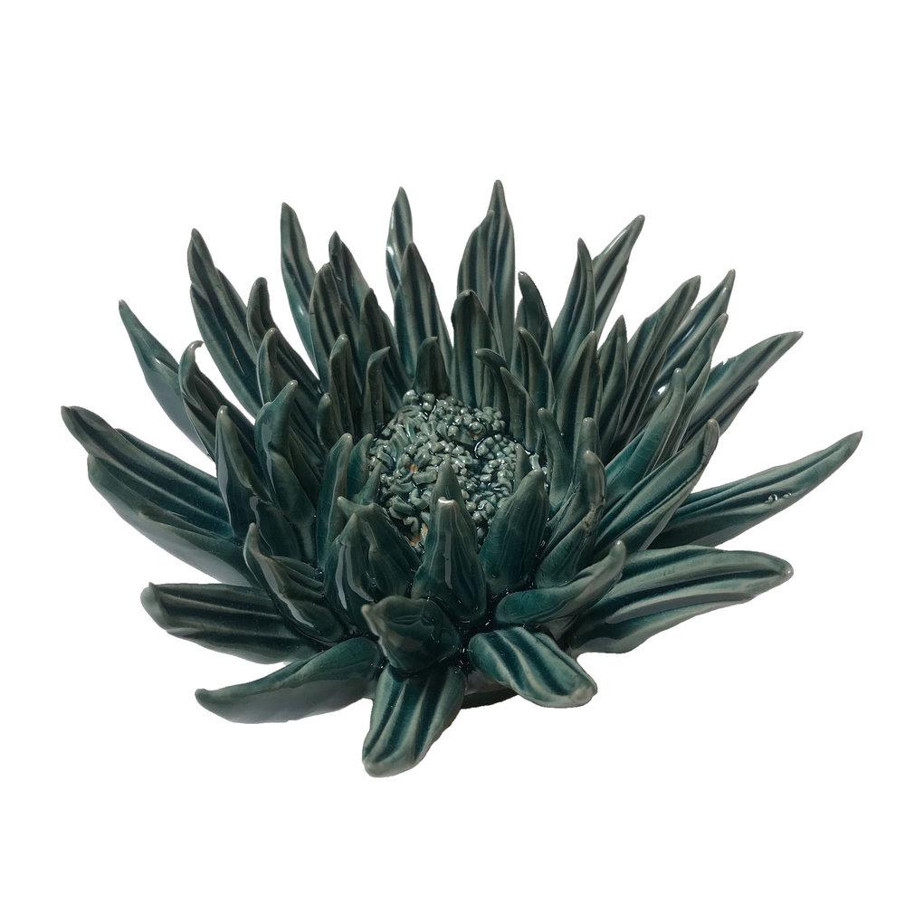 "Teal Ceramic Flower - $35  5"" Diameter, 2.6"" Tall"