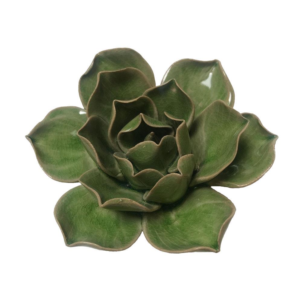 "Green Ceramic Flower - $22  4"" Diameter, 1.8"" Tall"