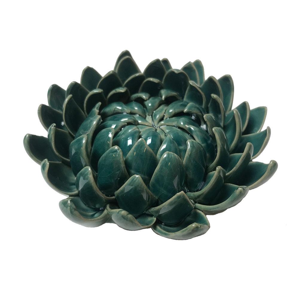 """Teal Ceramic Dhalia - $35  Dimensions: 4.25"""" Diameter, 2.5 Tall"""""""
