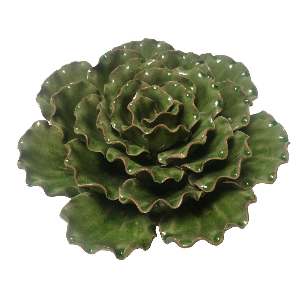 "Green Ceramic Sea Lettuce - $95  9.5"" Diameter, 3.5"" Tall"