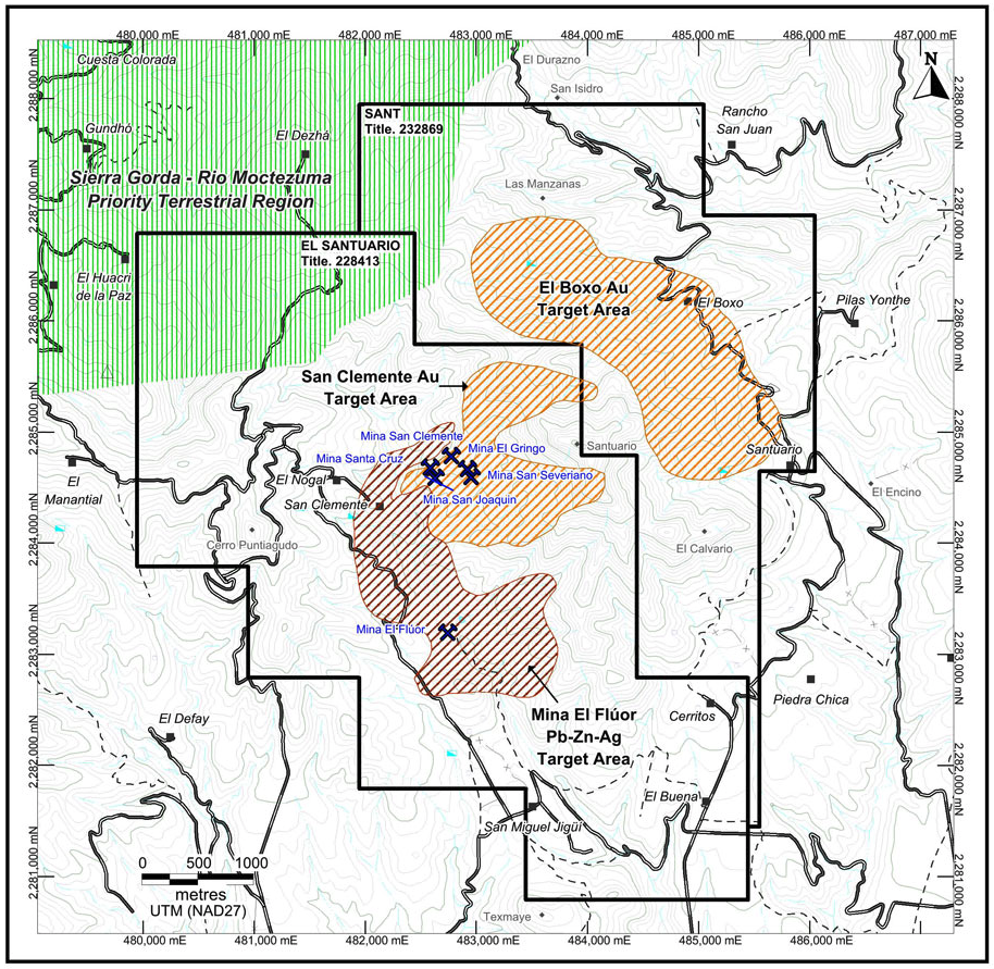Property map for the Santuario Project showing important historic mines, exploration target areas and road access.