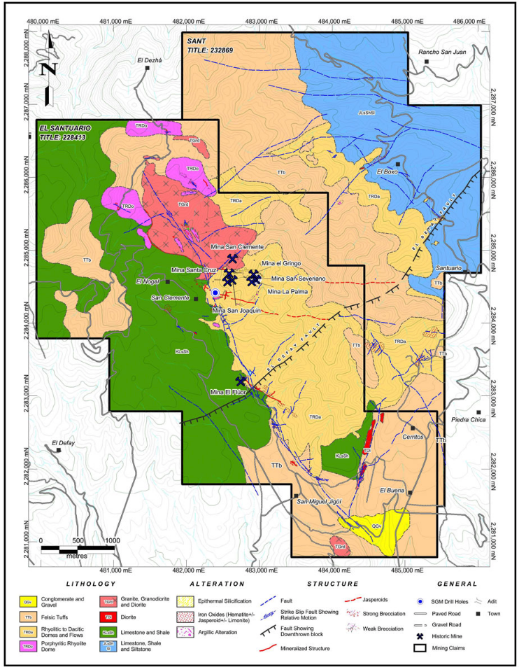 Geologic Map of the Santuario Property