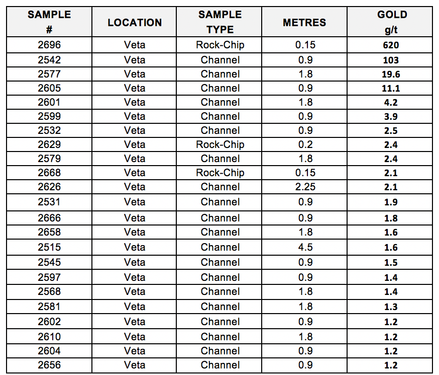 *Selective rock-chip samples do not fully represent the mineralization hosted on the property.