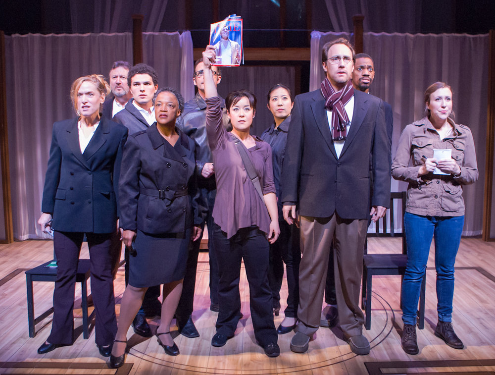 L to R: Bekka Fink, Dave Garrett, Barnaby James, Cathleen Riddley, Jackson Davis, Anna Ishida (with magazine), Alexis Wong, Will Springhorn Jr., Reggie D. White, Simone Kertesz. Ashby Stage. Photo: Mike Padua.