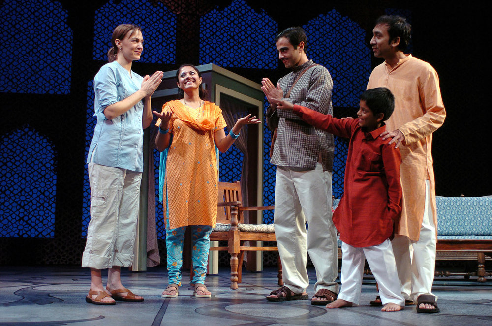 Lesley Fera (Rachel), Qurrat Ann Kadwani (Chandra), Samir Younis (Abhi), Indrajit Sarkar (Arustu), Oomung Varma (Osho). TheatreWorks. Photo: David Allen.