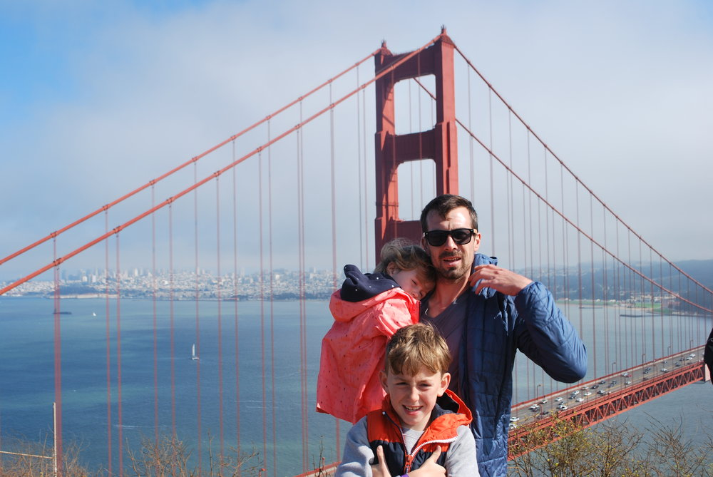 David, Grace and Aidan in front of Golden Gate Bridge, San Francisco.