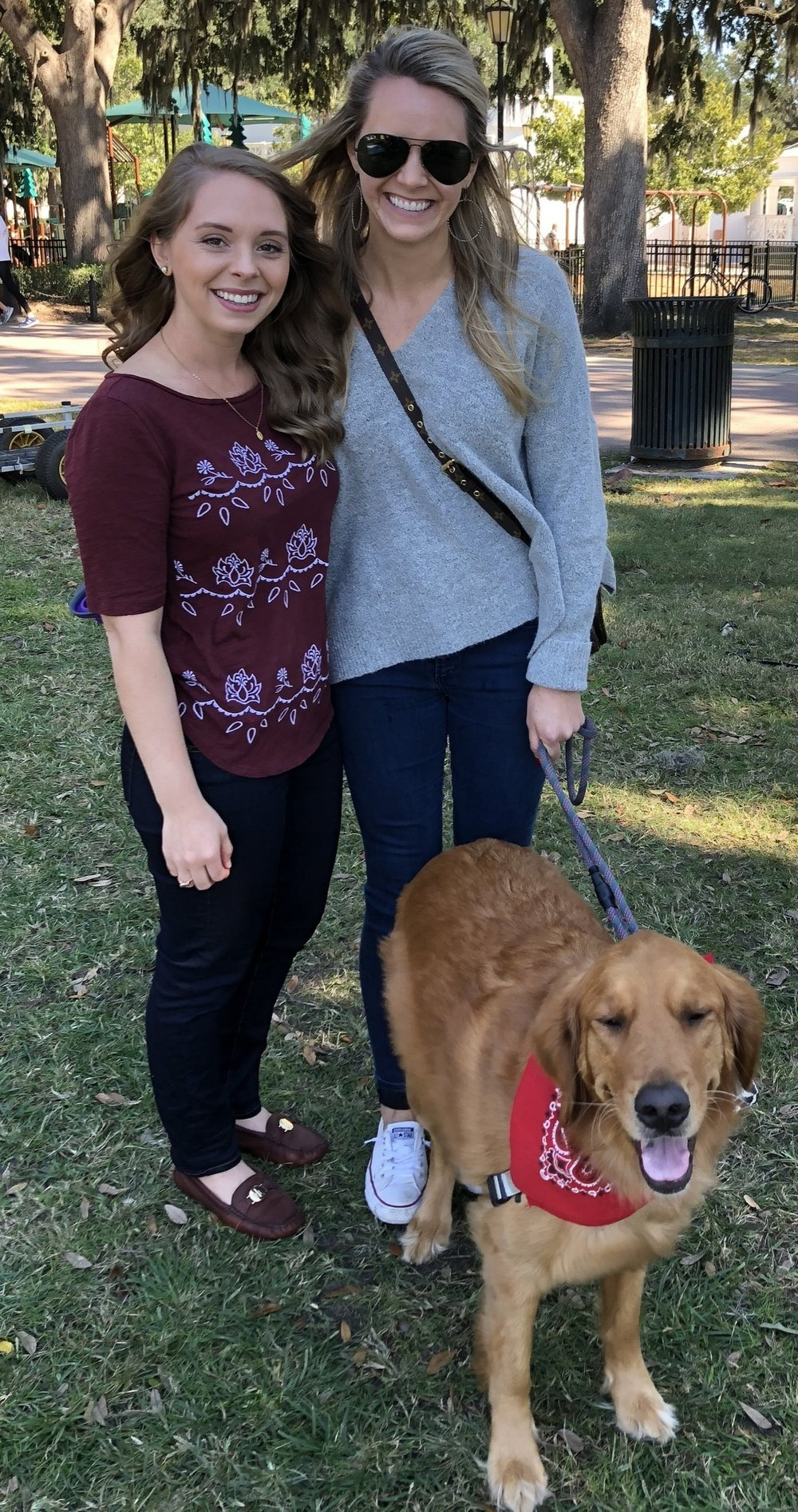 Kaitlyn (left) and her client, Kate (right), took advantage of the sunny day to meet in person for the first time. Kate even brought along her furry sidekick, Sugar!