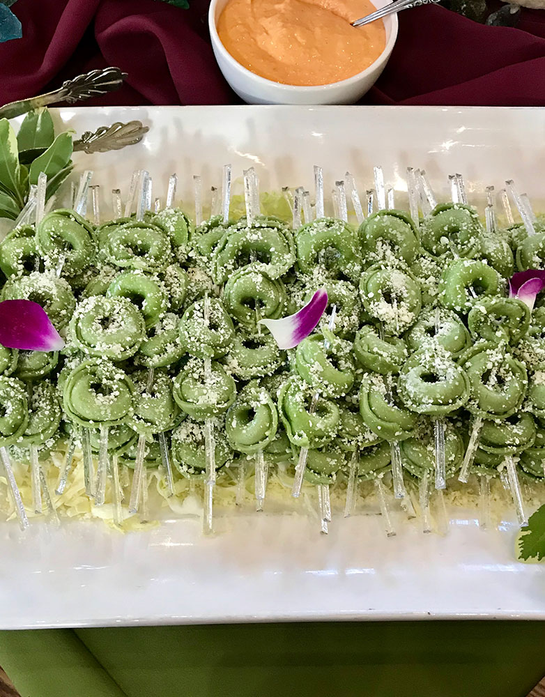 spinach and ricotta tortellini skewers